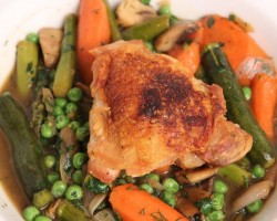 Crispy Chicken with Braised Spring Vegetables – Laura Vitale – Laura in the Kitchen Episode 364