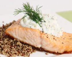 Salmon Fillets with Creamy Cucumber Dill Sauce Recipe – Laura in the Kitchen Episode 803