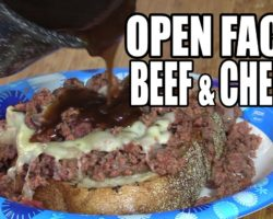 Open Faced Beef, Cheese and Gravy Sandwich
